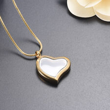 Heart Shape Keepsake Cremation Urn Glass Gold Stainless Steel Pendant Necklace