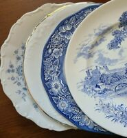 "Set of 4 Mismatched China Ironstone 10"" Dinner Plates Blue & White"