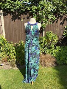 MONSOON - Size 16 - Maxi Tropical Leaf Print Dress - Blue Green Beaded