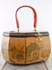 Vintage Anton Pieck Wooden Decoupage Handbag Octagon with Bakelite Handle