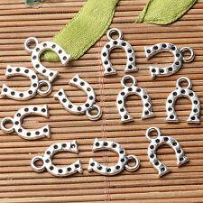 Tibetan silver plated horse shoe charm pendants   40pcs  EF3555