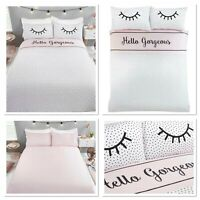 "Rapport ""Hello Gorgeous"" Polka Dot Reversible Print Duvet Cover Bedding Set Pink"