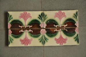 4 Pc Vintage Fine Colorful Flower Ceramic Tiles , Belgium