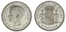 5 Silver Pesetas/Silver Duro. Alfonso XIII Madrid 1897. XF Sexy Babydoll