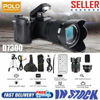 "D7300 ULTRA HD 33MP 3"" LCD 24X ZOOM LED Digital DSLR Camera Camcorder SLR Black"