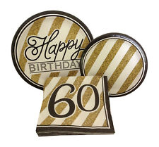 Happy 60th Sixtieth Birthday Party Dinner Dessert Paper Plates Napkins For 8