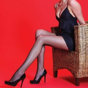 Fishnet Tights with 10% spandex by Silky,  M, L, XL, Black, Red, White, Pink