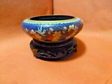 ORIENTAL CLOISONNE BOWL WITH WOODEN STAND
