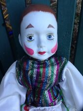 Vintage Retro Harlequin Jester Clown Bisque Sparkly Soft Doll Holiday