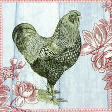 4x Paper Napkins for Decoupage Decopatch Painted Rooster