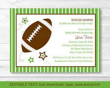 Football All Star Printable Baby Shower Invitation Editable PDF