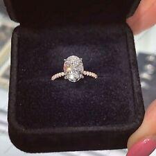 2.50 TCW Oval DVVS1 Forever One Moissanite Engagement Ring in 14K Rose Gold
