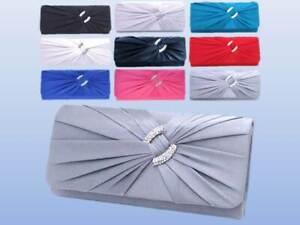 Luxury Satin Wedding Evening Bag Prom Diamante Clutch Purse Chain Handbag Bag