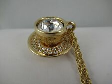 Swarovski Swan Mark Gold Tone Clear Crystal Coffee Cup Pendant on Chain Necklace