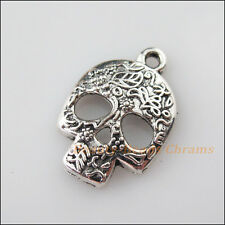10Pcs Tibetan Silver Tone Halloween Flower Skull Charms Pendants 16x23.5mm