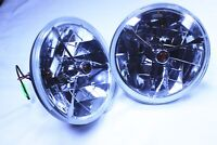 """7"""" Headlights Red Dot Tri bar H4  With Turn Signal Push in Bulb lamps 1 Pair"""