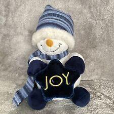 "Plushland 9"" Snowman White Blue Plush Stuffed Animal Joy Star"