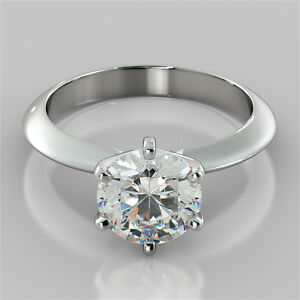6-Prong Round Cut Solitaire Engagement Ring in 14K White Gold