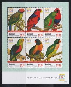 MUSTIQUE GRENADINES ST VINCENT 2015 BIRD STAMPS PARROTS SS MNH- BIRDL336