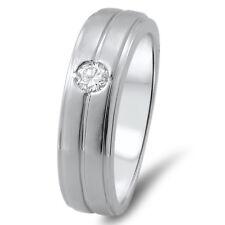 6.51 mm  F/VVS  0.19 ct Round Cut Diamond Men's Wedding Band  in 18k White Gold