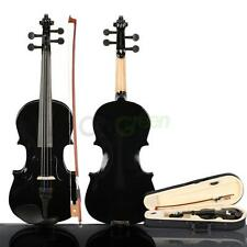 New Composite Wood 3/4 Size Black Acoustic Violin with Case Bow Rosin