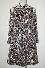 Beige animal print twist neck dress,Design, size 12 Brand New