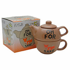 OH FOR FOX SAKE TEAPOT FOR ONE -  Funny Tea Pot and Cup Set - YORKSHIRE BROWN