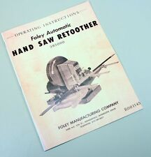 FOLEY BELSAW AUTOMATIC HAND SAW RETOOTHER 385000 OPERATING INSTRUCTIONS MANUAL