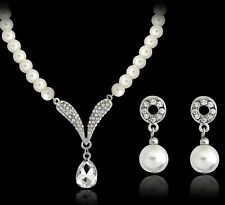 Women Fashion Crystal Bib Chain Pendant Statement Pearl Necklace Set Earrings