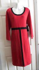 NWT JONES NEW YORK RED & BLACK COLOR BLOCK 3/4 SLEEVE SWEATER DRESS XL