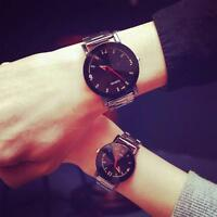 Retro Women Men's Watch Couple Stainless Steel Analog Quartz Sport Wrist Watch