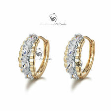18k yellow white gold gf made with swarovski crystal huggies earrings