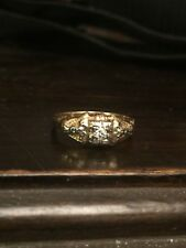 Antique Art Deco 14K Yellow & White Gold & Diamond Ring Size 6