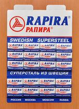 100 NEW SWEDISH SUPERSTEEL RAPIRA DOUBLE EDGE SAFETY RAZOR BLADES+ FREE GIFT!