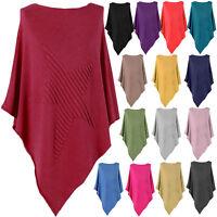 Women Italian Soft Knit Ribbed Star Poncho Cape Wrap Kaftan Sweater Jumper Top