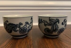 Pier 1 Imports FLORAL Hand Painted Tea Cup Lot Of 2 Set Blue Porcelain Happiness