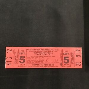 1969 Cleveland Indians New York Yankees Press Straight A full ticket