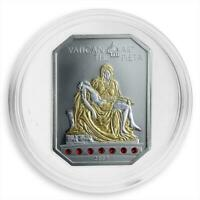 Cook Islands, $5, Vatican Art - The Pieta, Swarovski crystal, silver coin, 2009