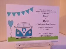 Personalised Camper van Bunting Wedding Invitations X 100