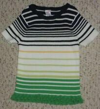 Black, White, Green & Yellow Striped Gymboree S/S Sweater, Prep Club, 7, VGUC