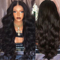 Women Black Curly Brazilian Heat Resistant Synthetic Fiber Long Wavy Hair Wigs