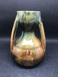 Vintage Belgium Studio Art Treacle Glazed Vase Three handled (Y2 257)