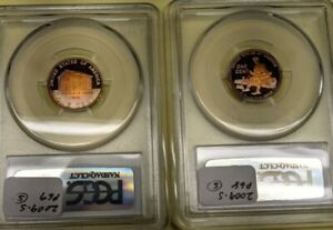 2009-S X 2 Lincoln Memorial Cent PCGS PR68 and PR69 Rainbow Toned Proofs