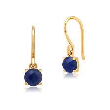 Amour Damier 9ct Yellow Gold 1.35ct Claw Set Sapphire Drop Earrings by Gemondo