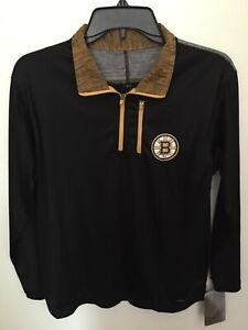 New NHL Boston Bruins 1/4 Zip Cool Base Pullover Jacket By Majestic NWT Boy's Lg