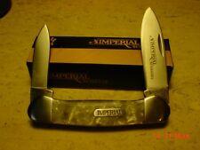 "Imperial Schrade Cracked Ice Celluloid Large Canoe 3 1/2"" Pocket Knife  IMP11"