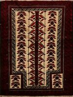 Tribal Ivory Geometric Balouch Afghan Area Rug Hand-Knotted Oriental Carpet 3x5