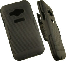 BLACK RIBBED HARD CASE COVER + BELT CLIP HOLSTER STAND FOR SAMSUNG GALAXY J1 ACE
