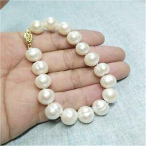 12-13mm South Sea White Baroque Pearl Bracelet 7.5-8 14k Gold Clasp Real