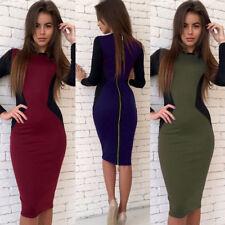 Womens Long Sleeve Bodycon Sheath Midi Calf Dress Ladies Long Zip Pencil Dresses